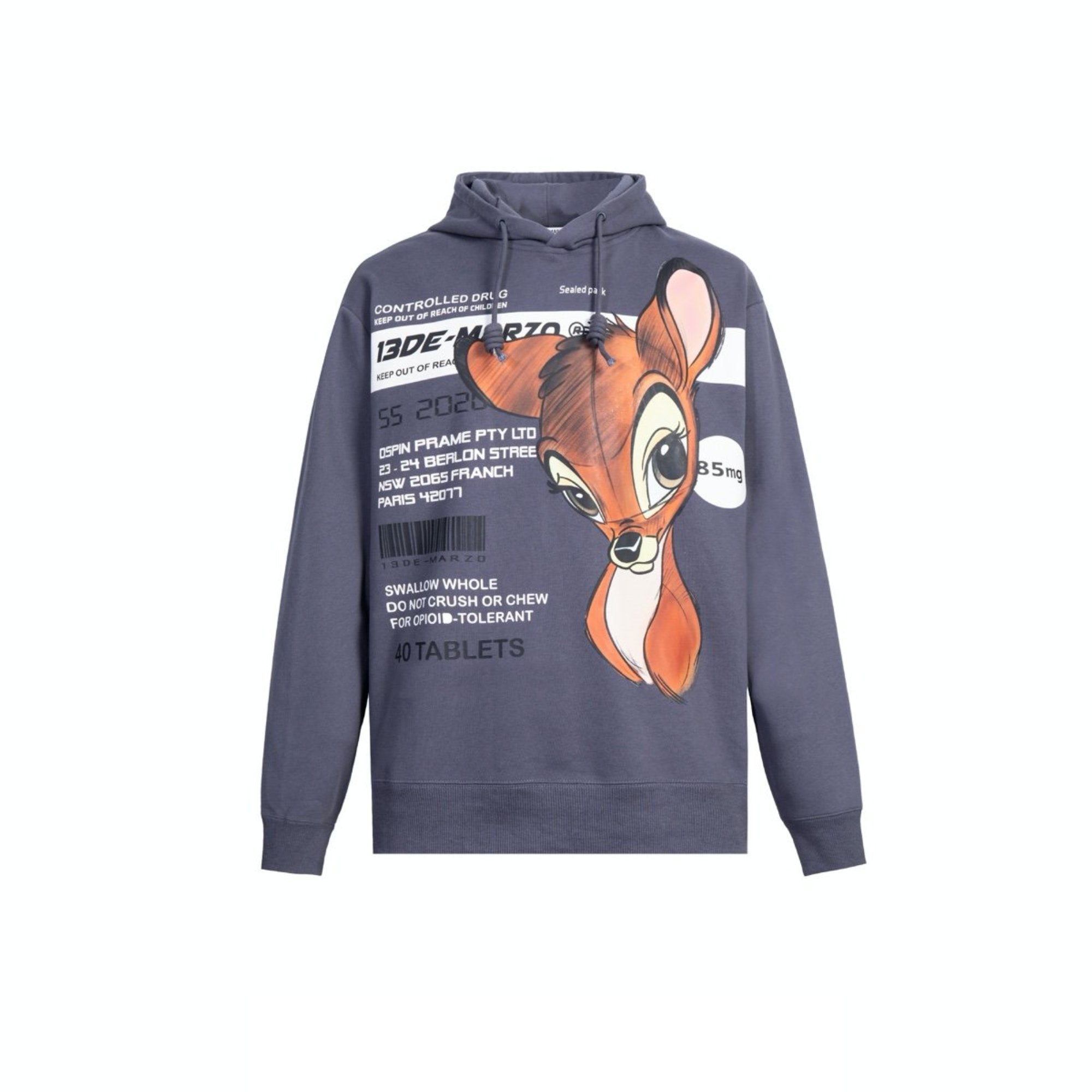 13 DE MARZO Bambi Instruction Hoodie Odyssey Gray | MADA IN CHINA