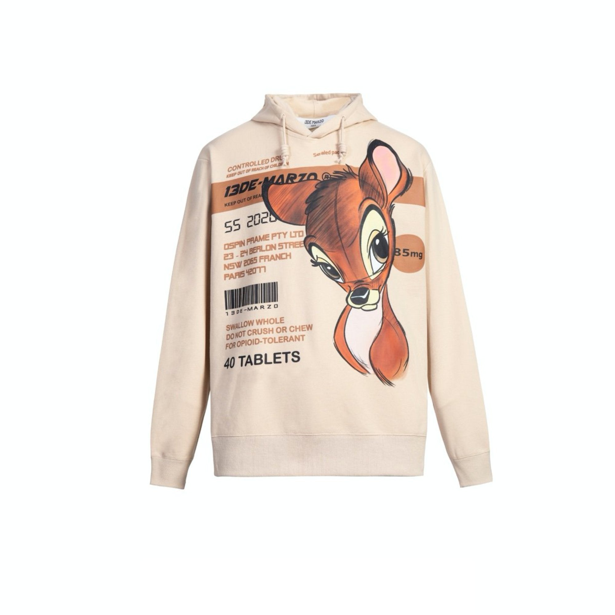 13 DE MARZO Bambi Instruction Hoodie Whitecap Gray | MADA IN CHINA