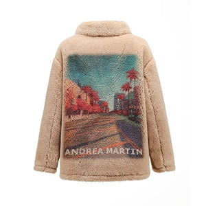 ANDREA MARTIN Beige City View Fur Jacket | MADA IN CHINA