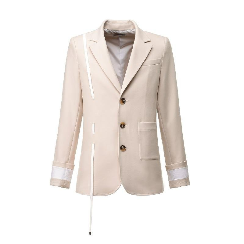 ANDREA MARTIN Beige Drawstring Blazer Jacket | MADA IN CHINA