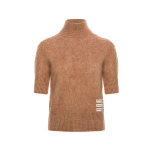 DIANA VEVINA Beige Mohair Turtleneck Sweatshirt | MADA IN CHINA