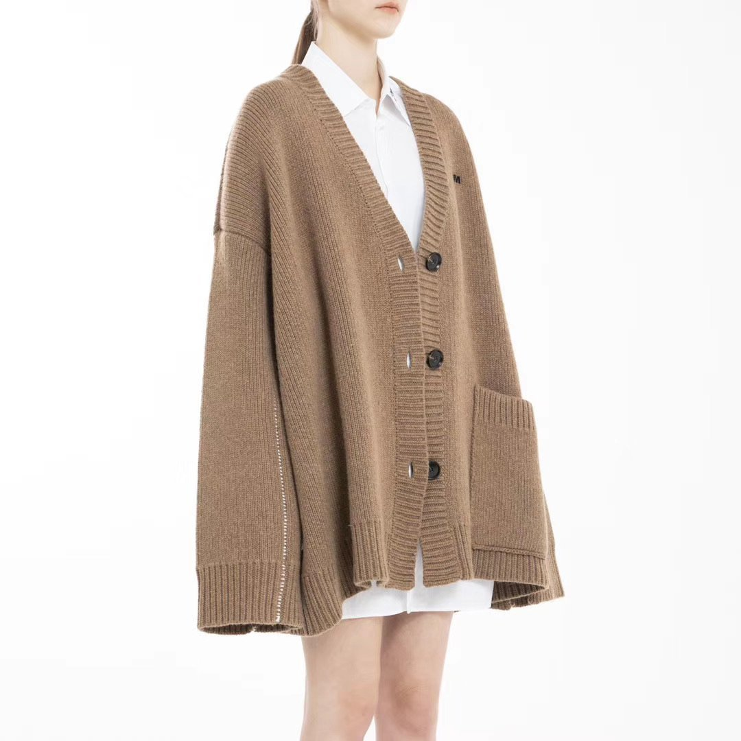 2208M DECAF Beige Oversized Cardigan | MADA IN CHINA