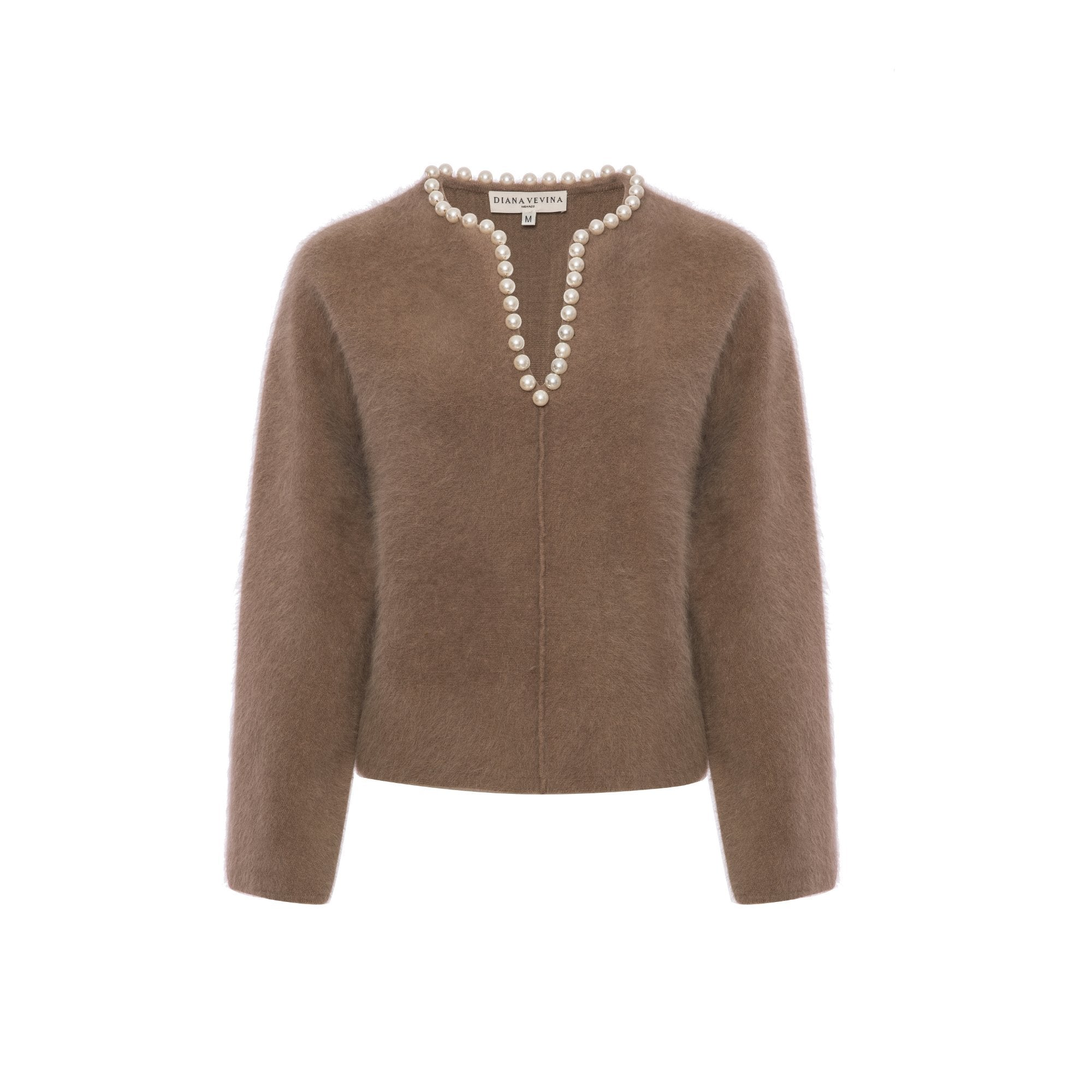 DIANA VEVINA Beige Pearl V-Neck Sweatshirt | MADA IN CHINA