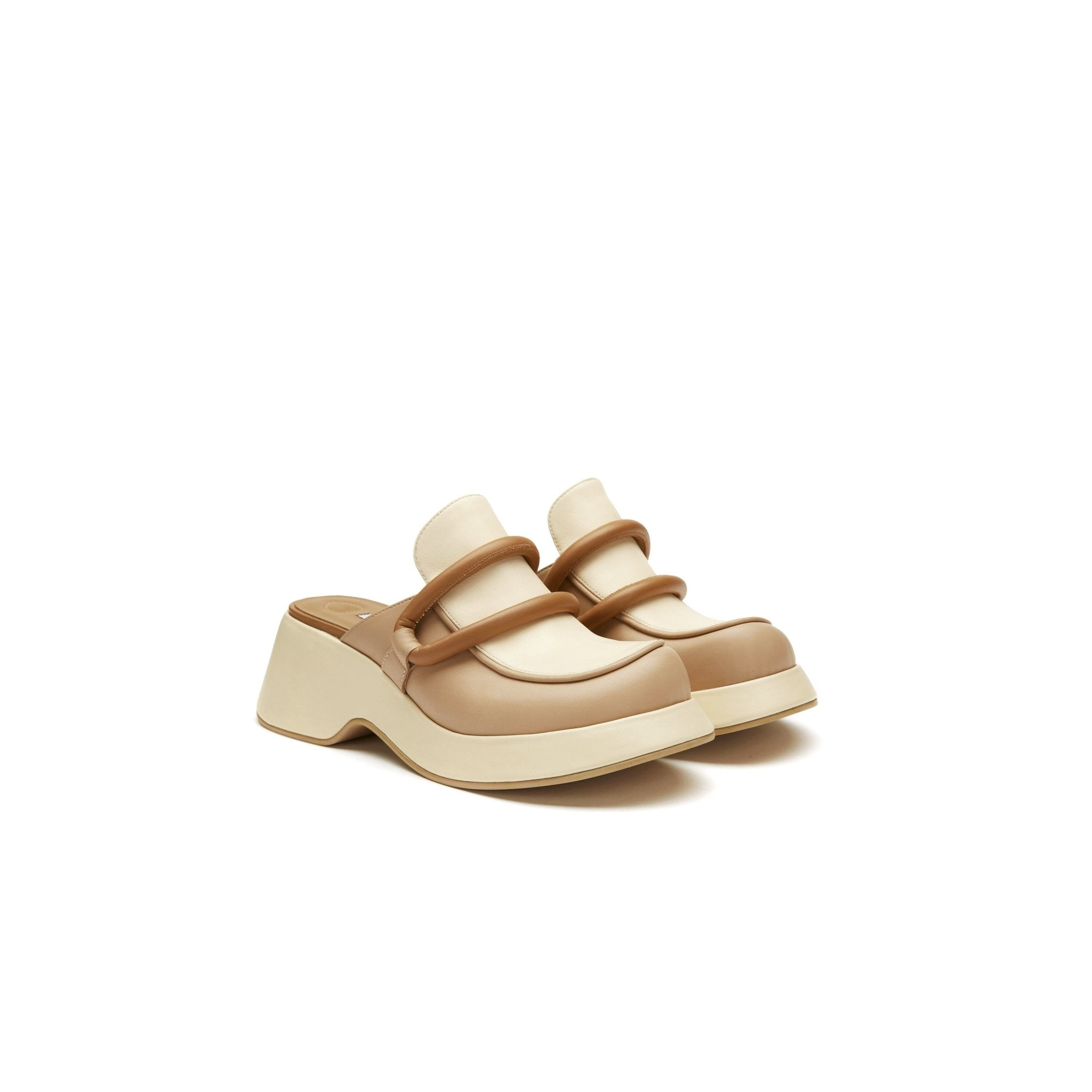 LOST IN ECHO Beige Platform Loafers | MADA IN CHINA