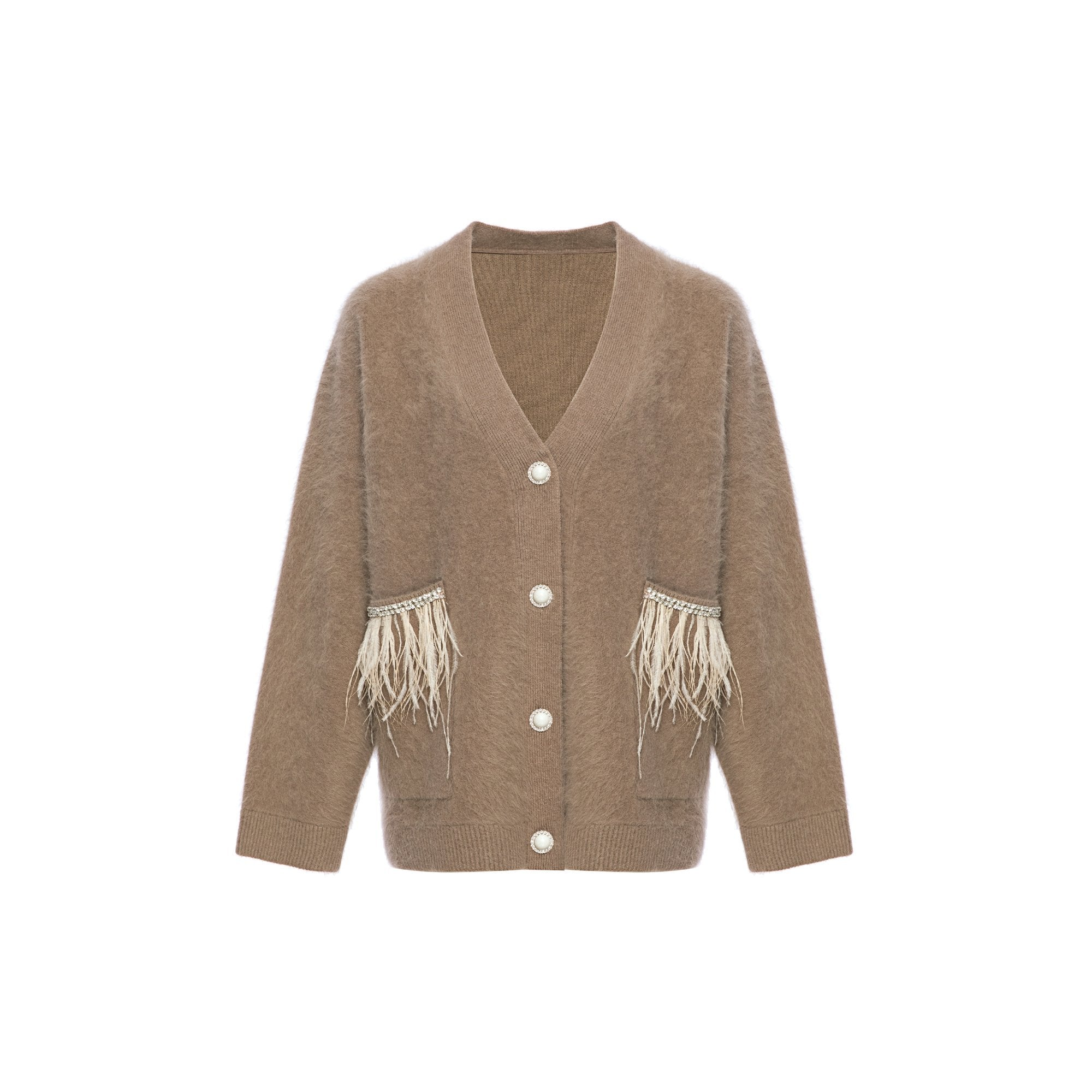 DIANA VEVINA Beige Raccoon Fur Cardigan | MADA IN CHINA