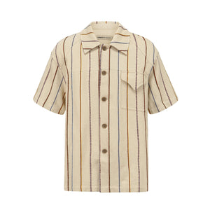 GARÇON BY GÇOGCN Beige Tussah Short-Sleeve Shirt | MADA IN CHINA