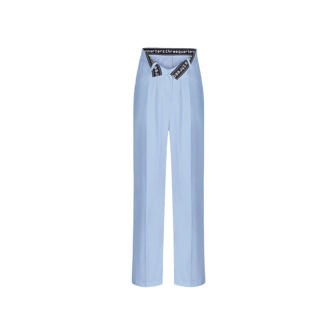 THREE QUARTERS Bite Flip Logo Pants Blue | MADA IN CHINA