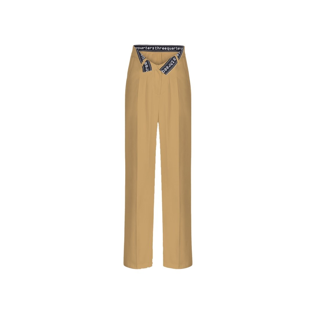 THREE QUARTERS Bite Flip Logo Pants Khaki | MADA IN CHINA