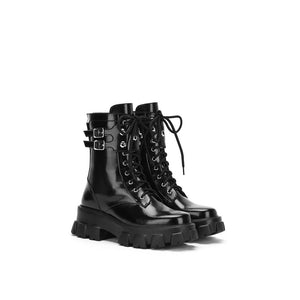 LOST IN ECHO Black Belt Platform Boots | MADA IN CHINA
