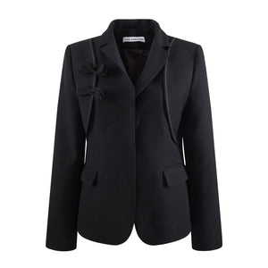 HERLIAN Black Bowknot Slim Blazer Jacket | MADA IN CHINA