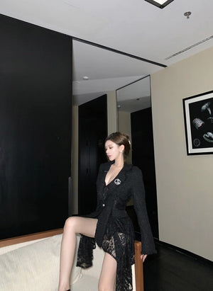 SASA MAX Black Brooch Lace Jacket | MADA IN CHINA