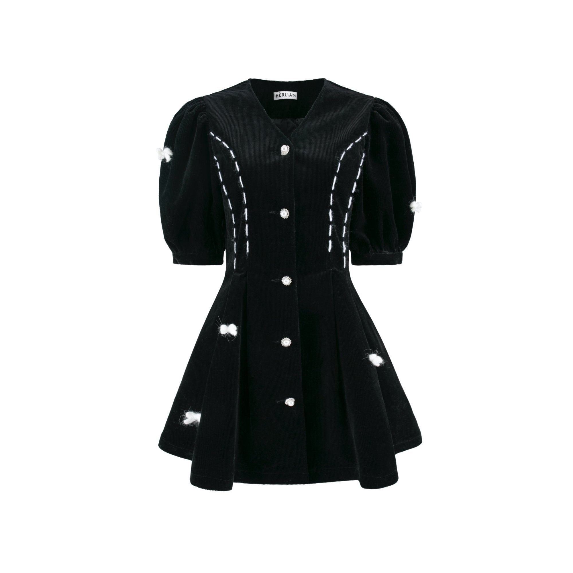 HERLIAN Black Butterfly Corduroy Dress | MADA IN CHINA