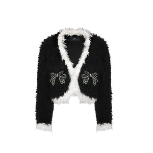 AIMME SPARROW Black Butterfly Teddy Fur Jacket | MADA IN CHINA