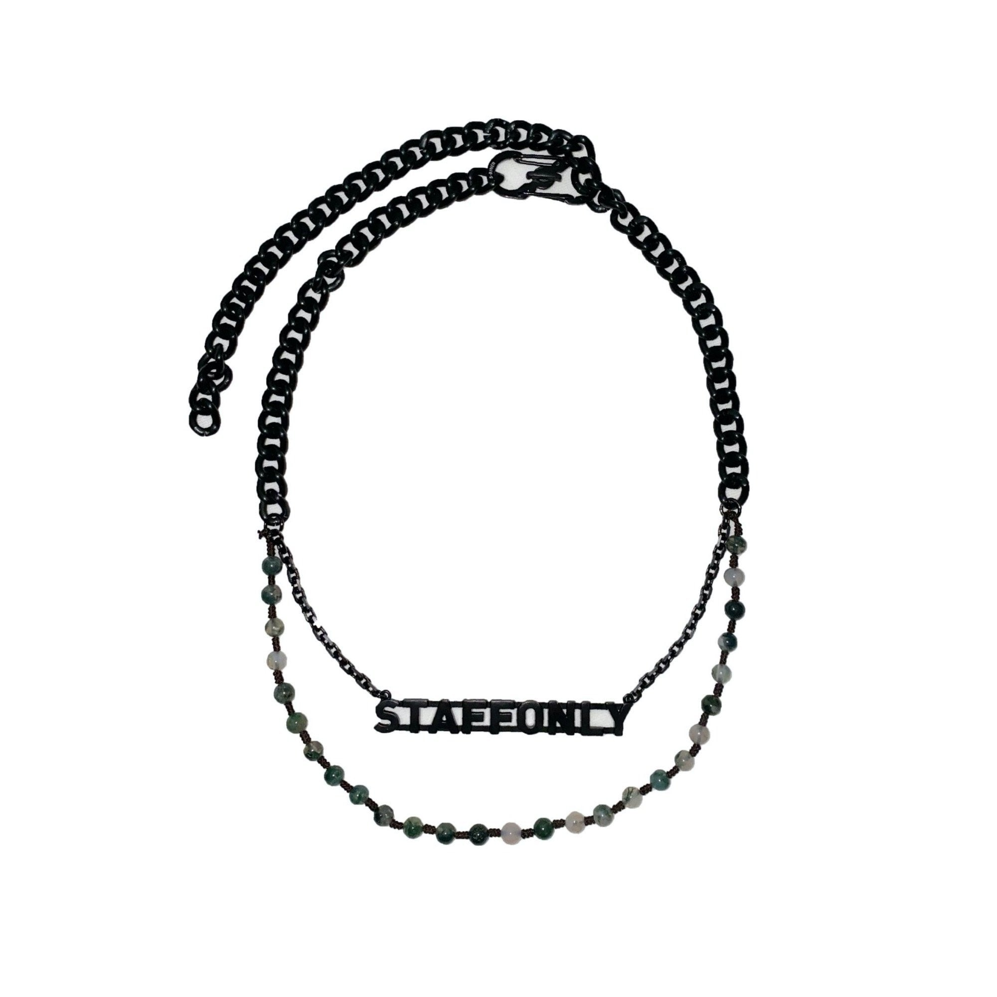 STAFF ONLY Black Coated Titanium And Jade Layering Necklace | MADA IN CHINA
