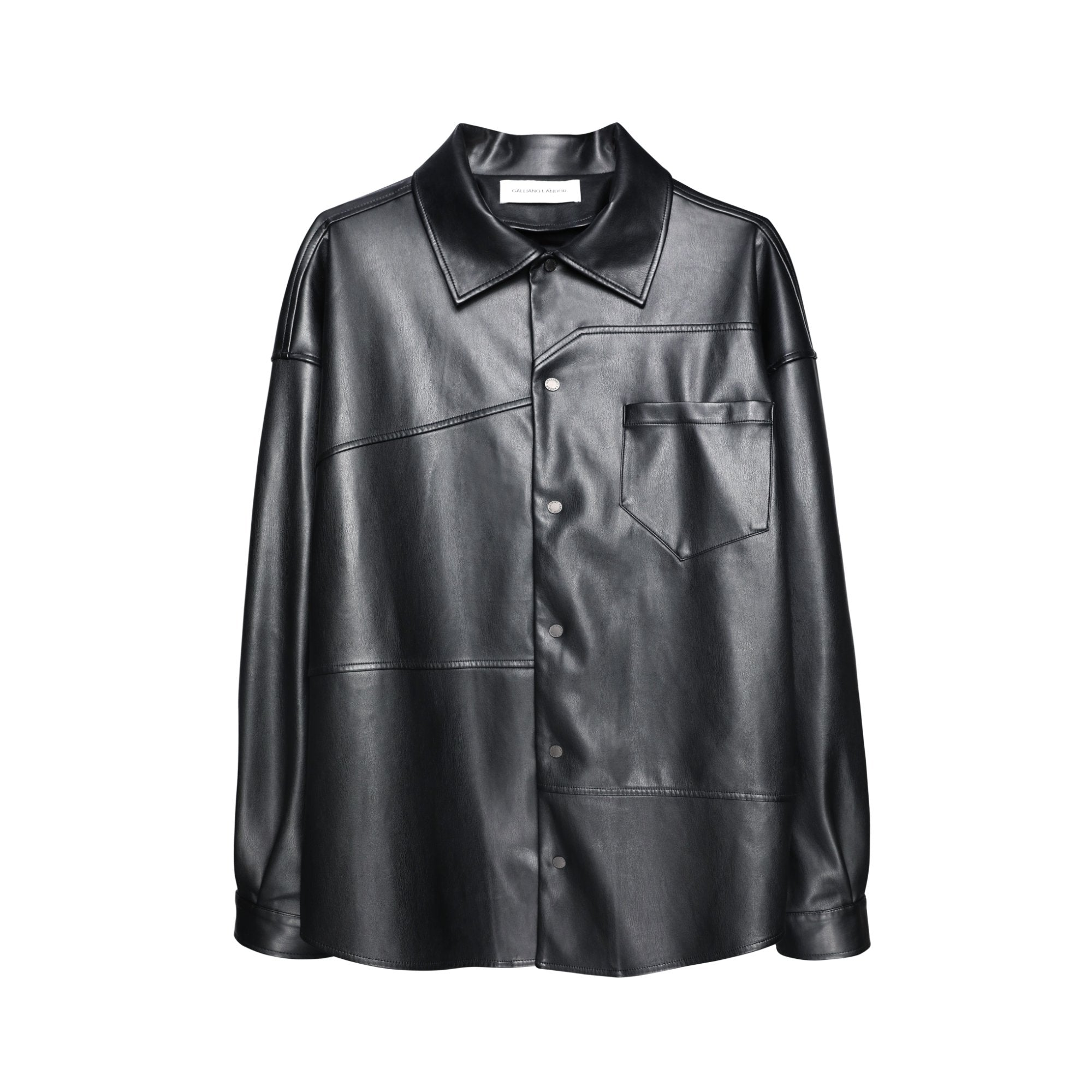 GALLIANO LANDOR Black Colored Patchwork Leather Shirt | MADA IN CHINA