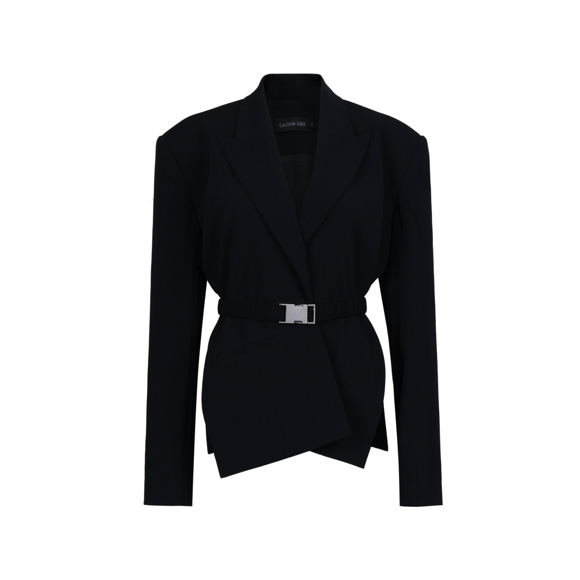 CALVIN LUO Black Cross Placket Jacket | MADA IN CHINA