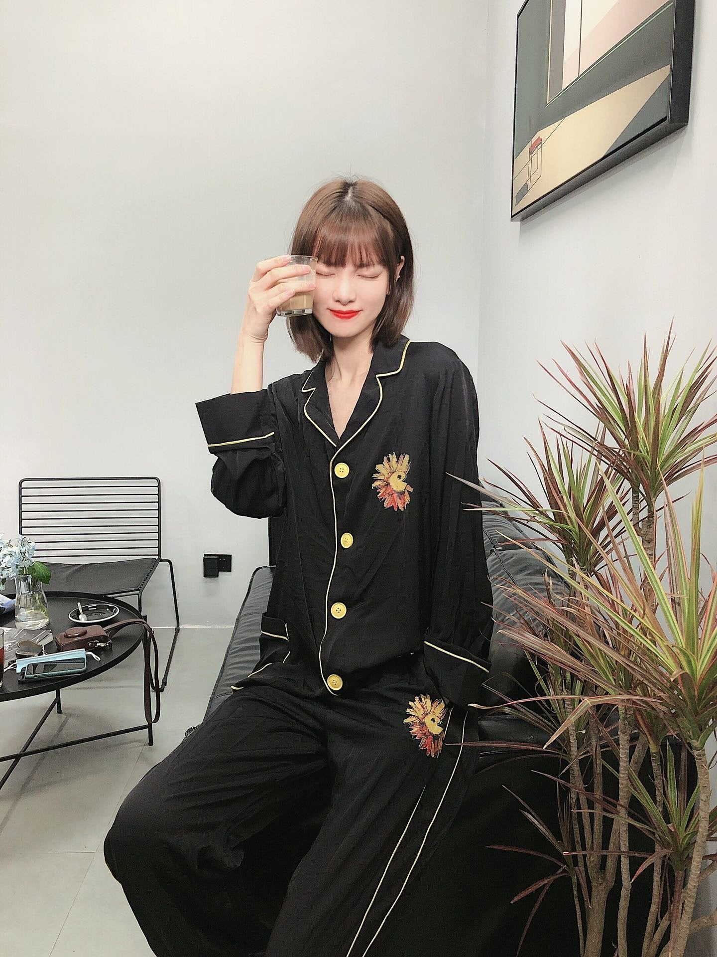 SOFITTE Black Daisy Pajamas Set | MADA IN CHINA