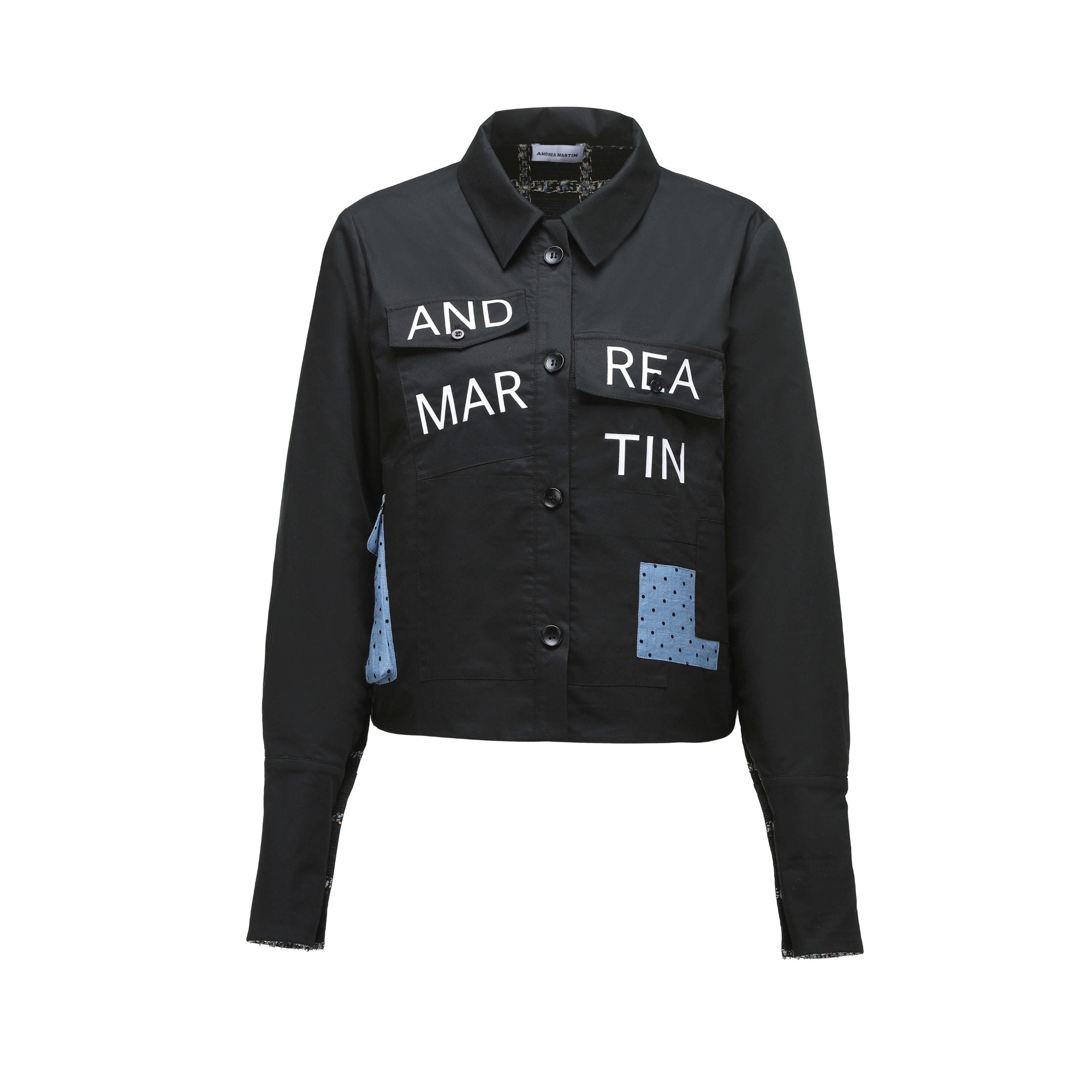 ANDREA MARTIN Black Dot Patch Jacket | MADA IN CHINA