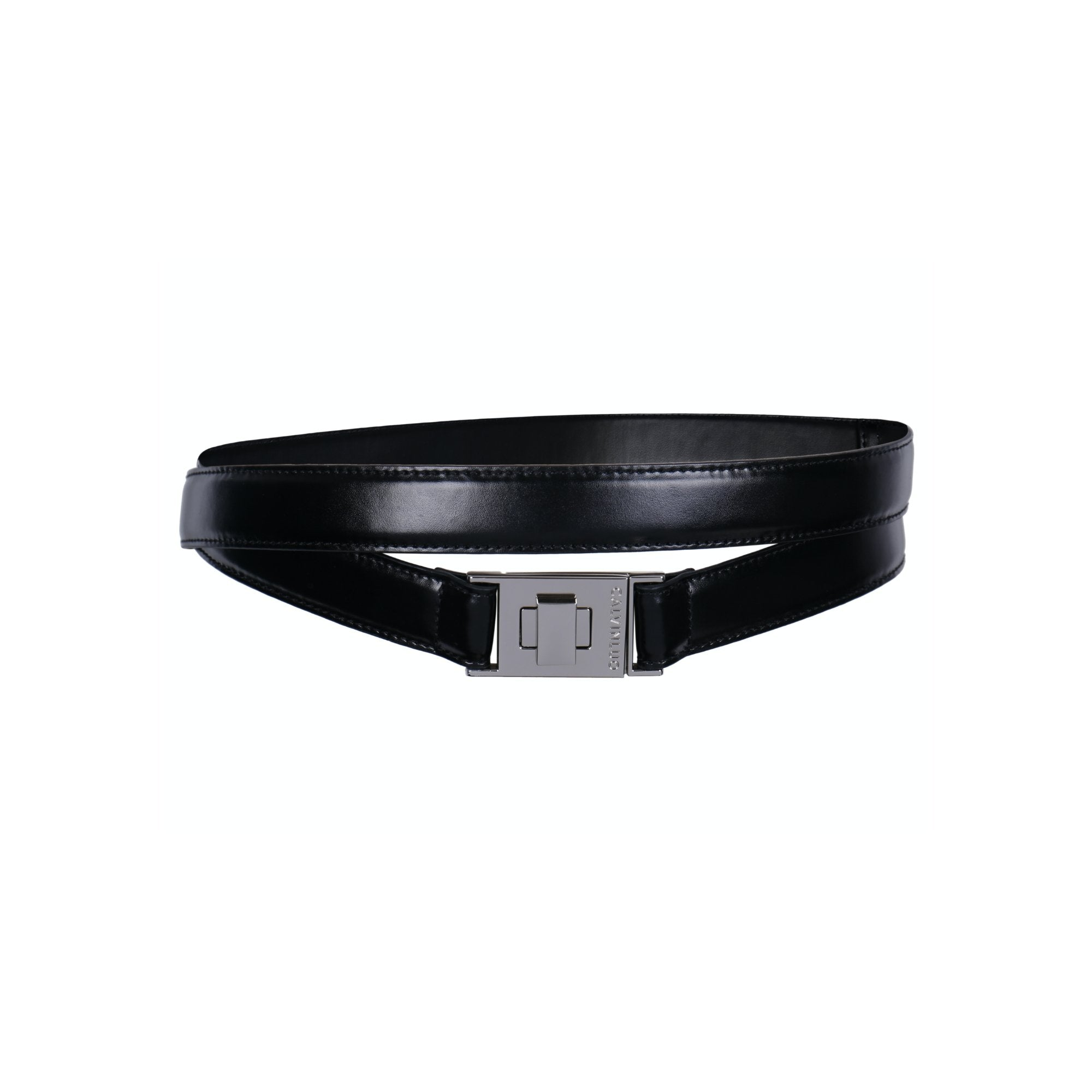 CALVIN LUO Black Double Twist-Lock Wraparound Leather Belt | MADA IN CHINA