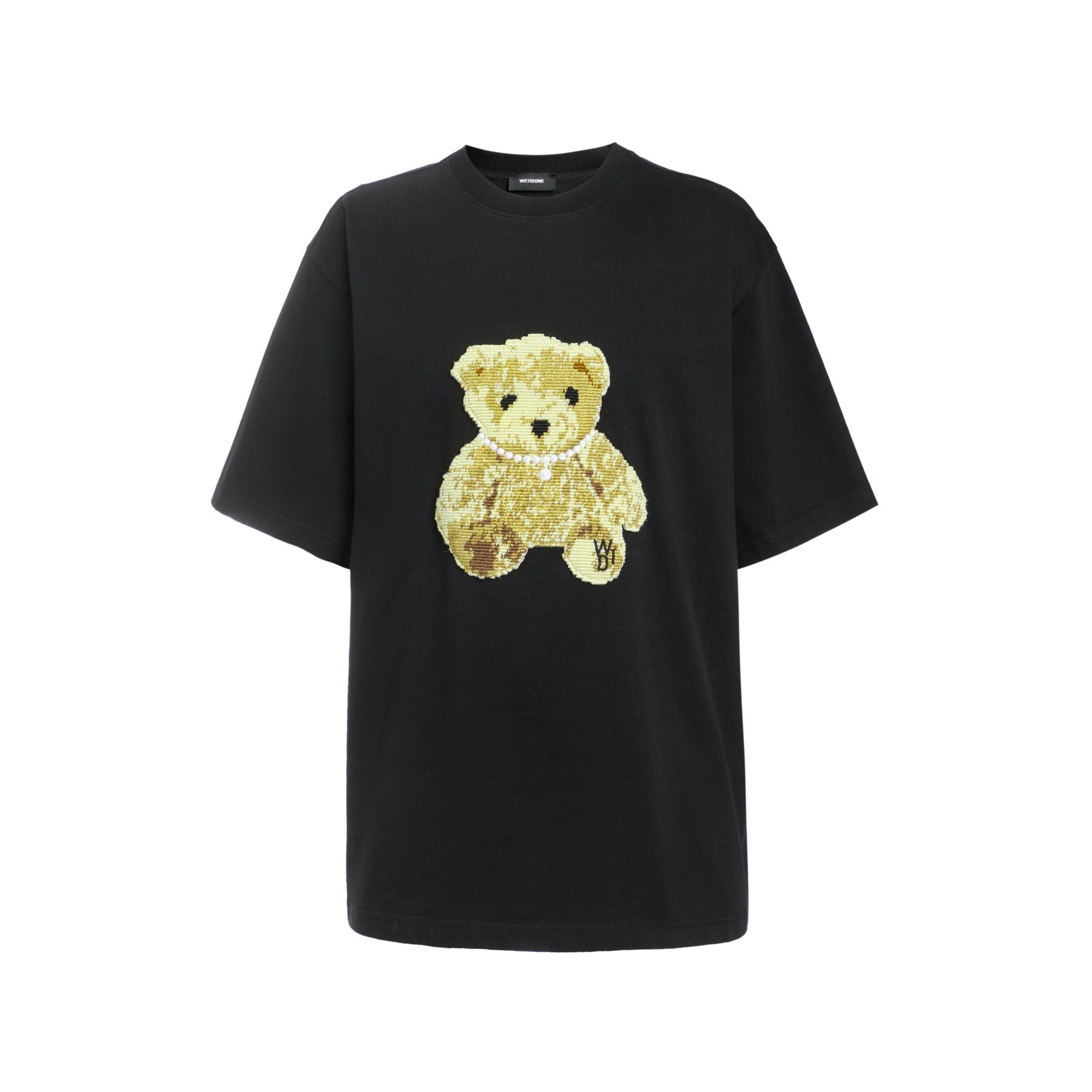 WE11DONE Black Embroidered Teddy T-Shirt | MADA IN CHINA