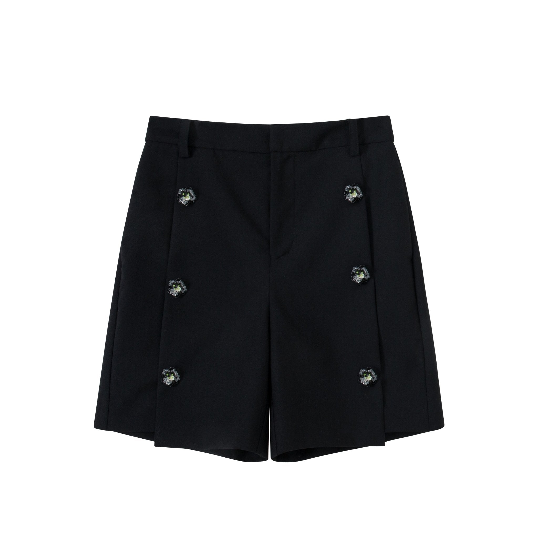 VIAS HERLIAN Black Flower Button Suit Shorts | MADA IN CHINA