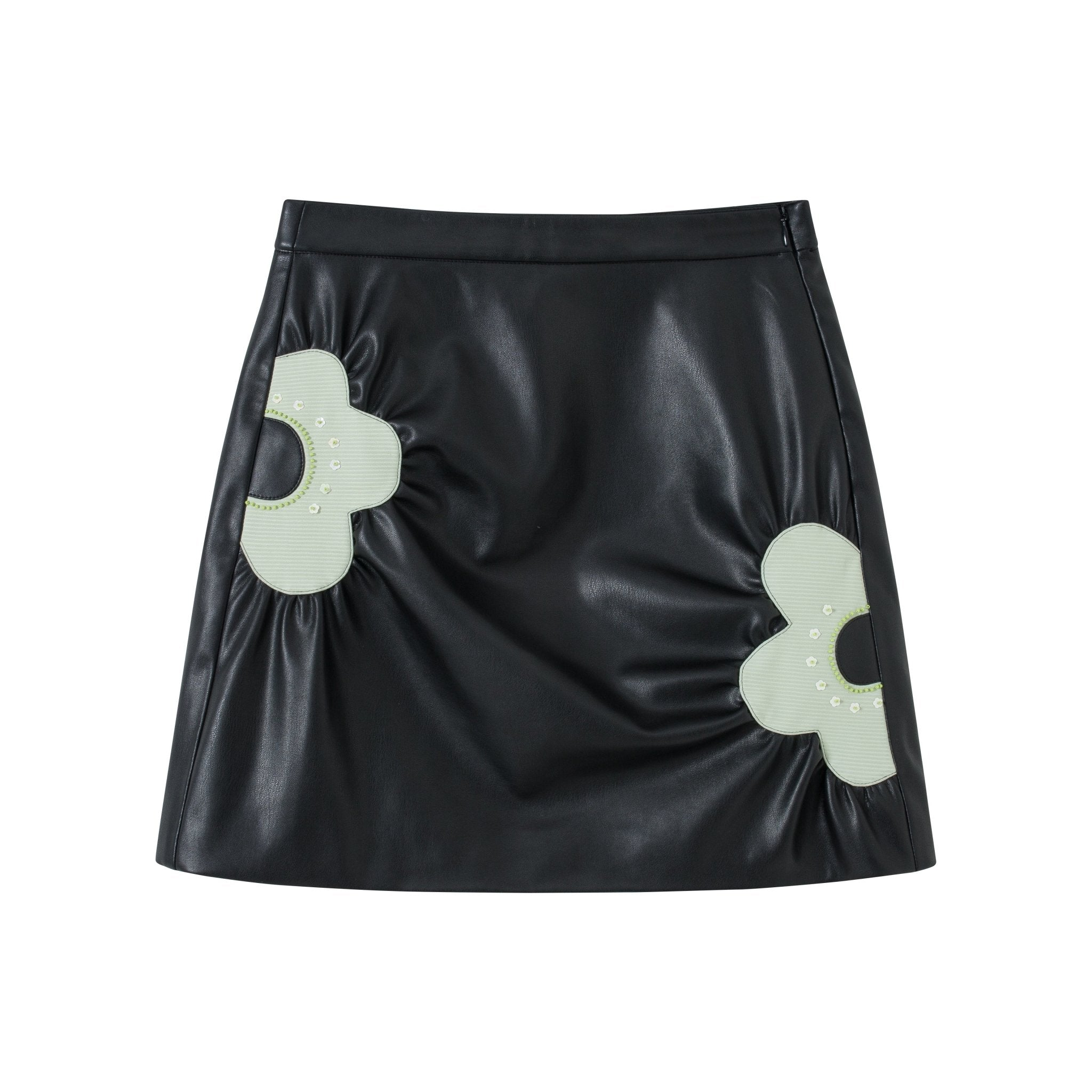 VIAS HERLIAN Black Flower Leather Skirts | MADA IN CHINA