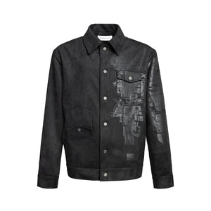 GALLIANO LANDOR Black Foil Embossed Printed Suede Jacket | MADA IN CHINA