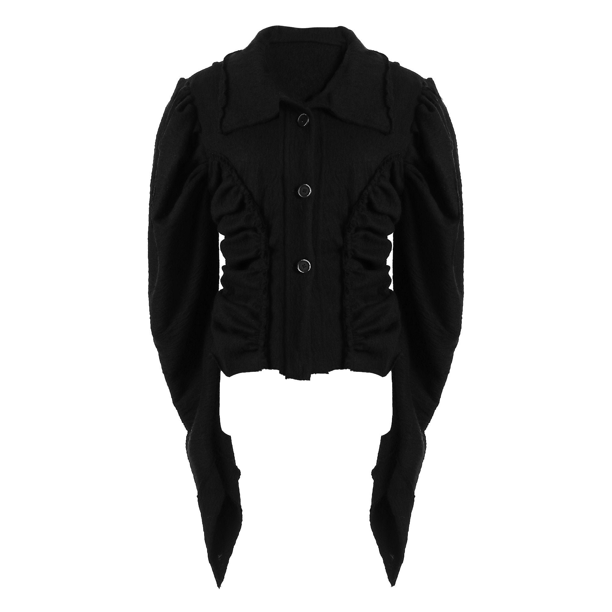 ELYWOOD Black Gitgot-Sleeve Shirt | MADA IN CHINA