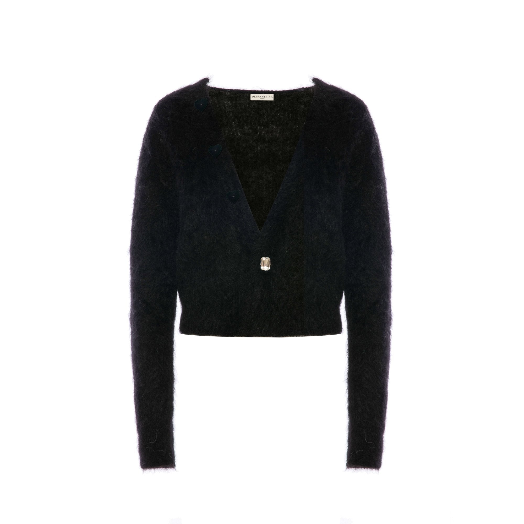 DIANA VEVINA Black Heart Mohair Cardigan | MADA IN CHINA