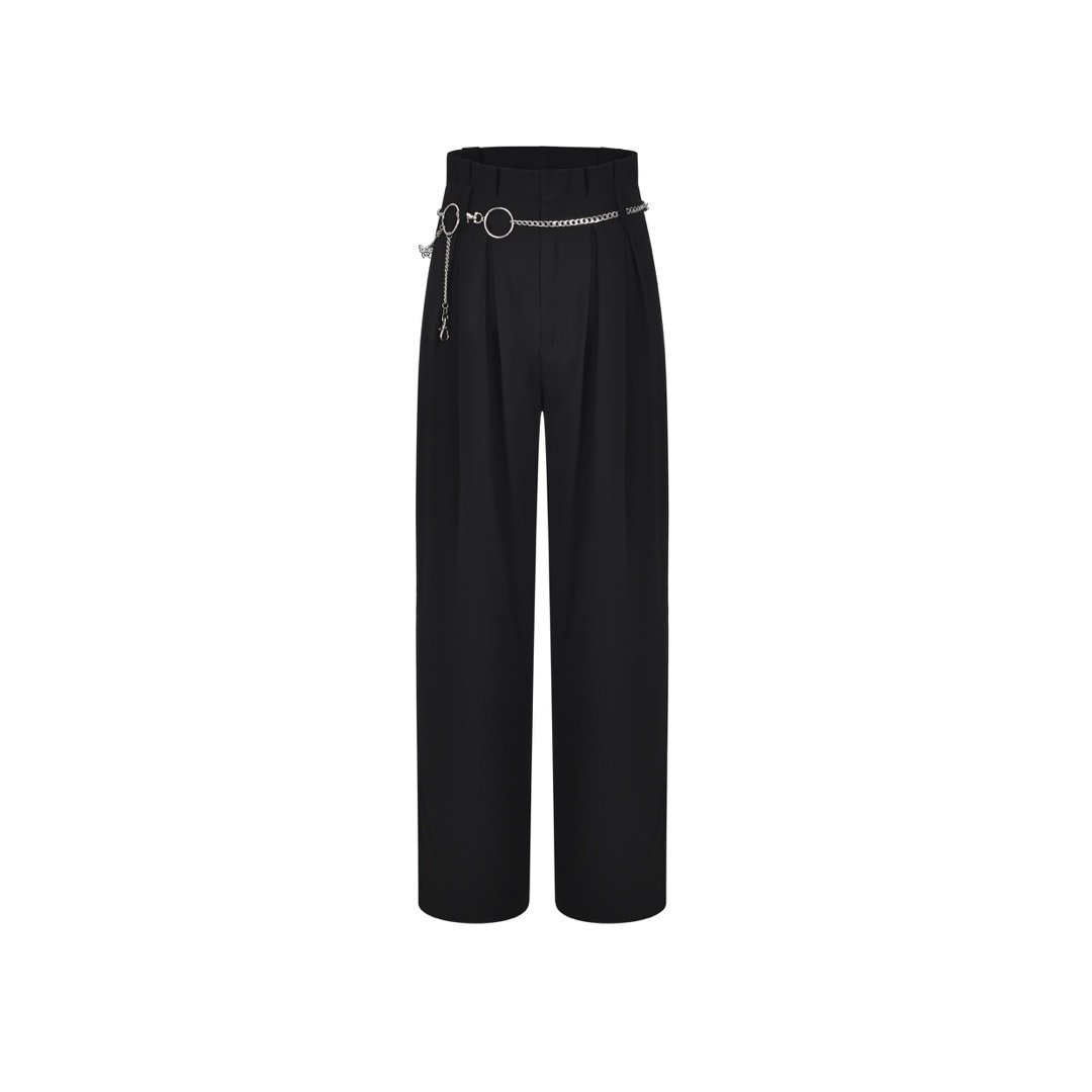 THREE QUARTERS Black High Waist Pants | MADA IN CHINA