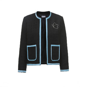 ANDREA MARTIN Black Knitted Diamond Butterfly Jacket | MADA IN CHINA