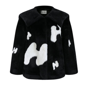 HERLIAN Black Letter Logo Fur Jacket | MADA IN CHINA