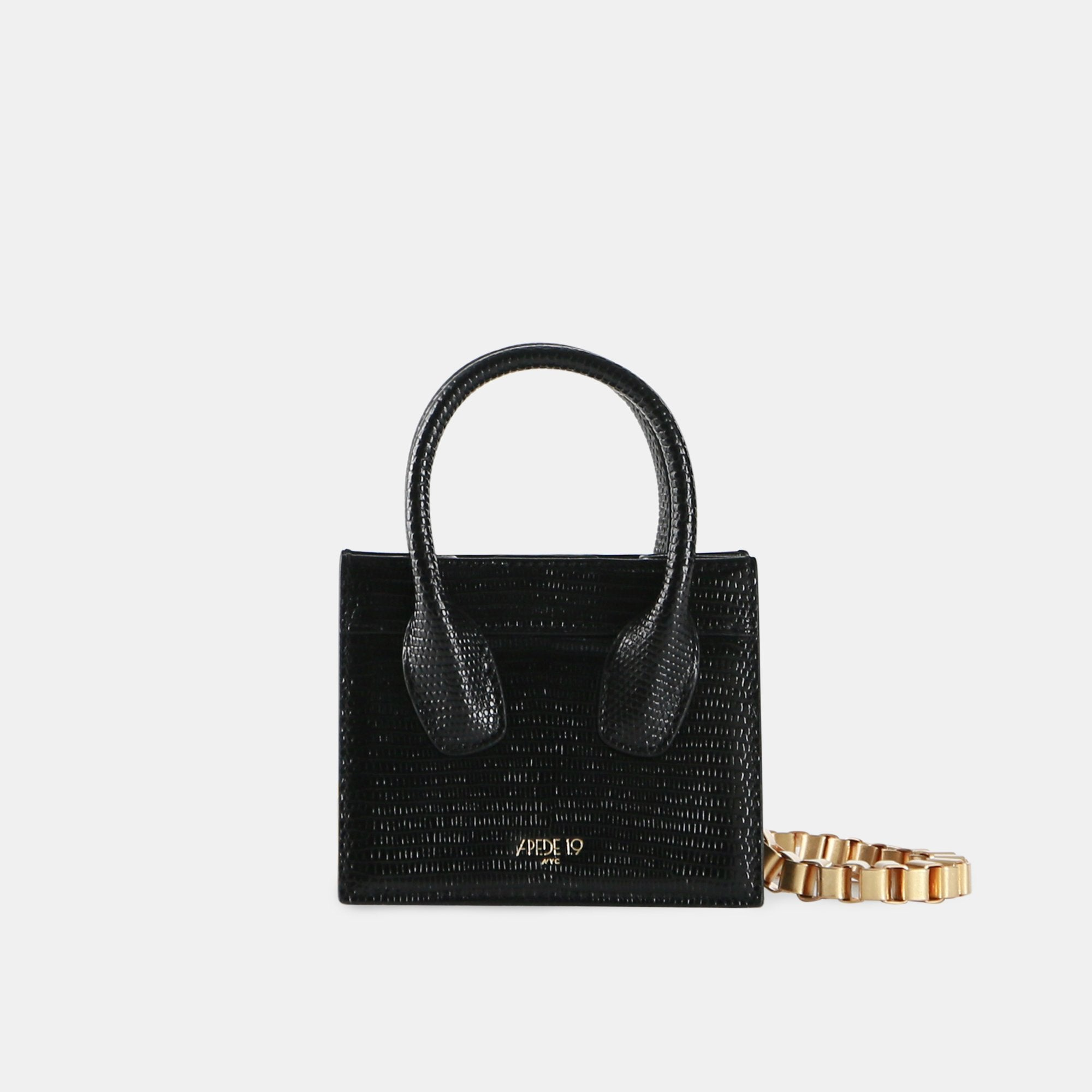 APEDE MOD Black Lizard Poker Face Mini Tote | MADA IN CHINA