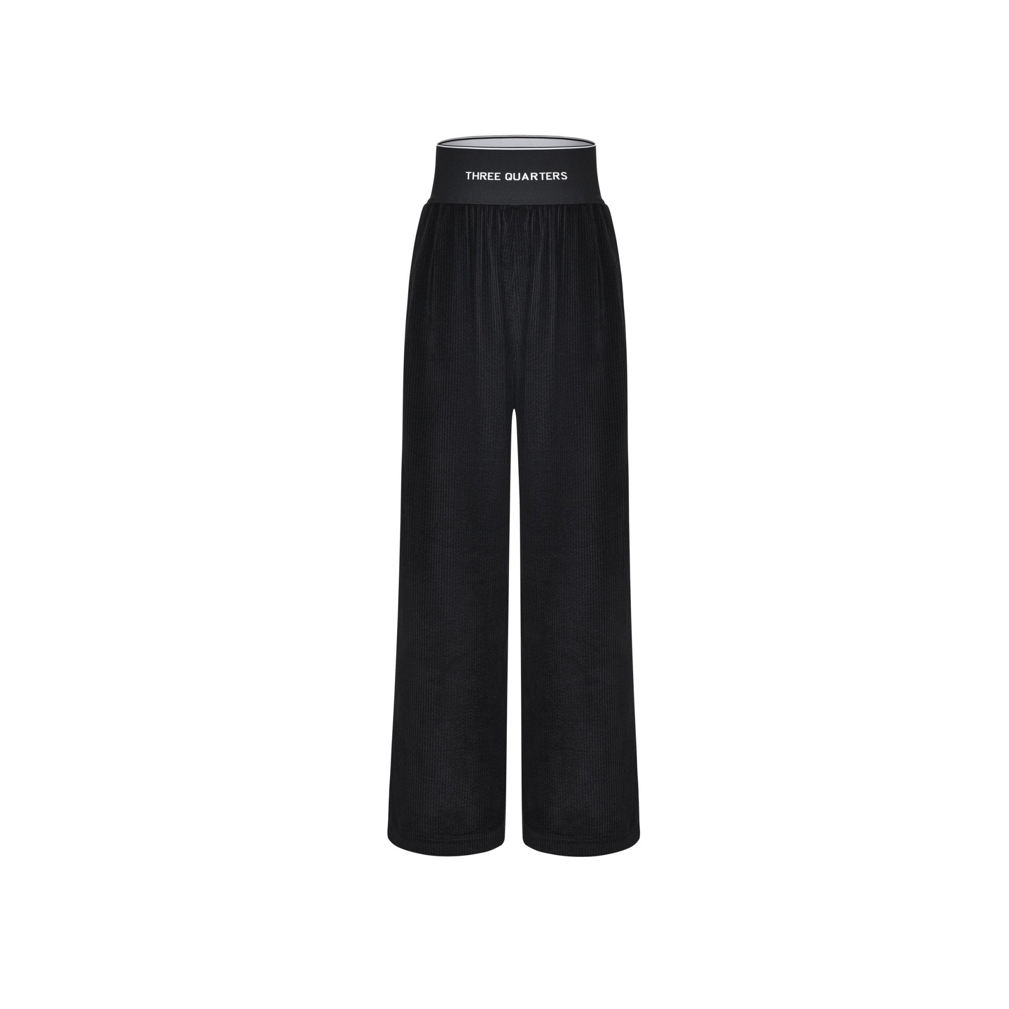 THREE QUARTERS Black Logo Corduroy Pants | MADA IN CHINA