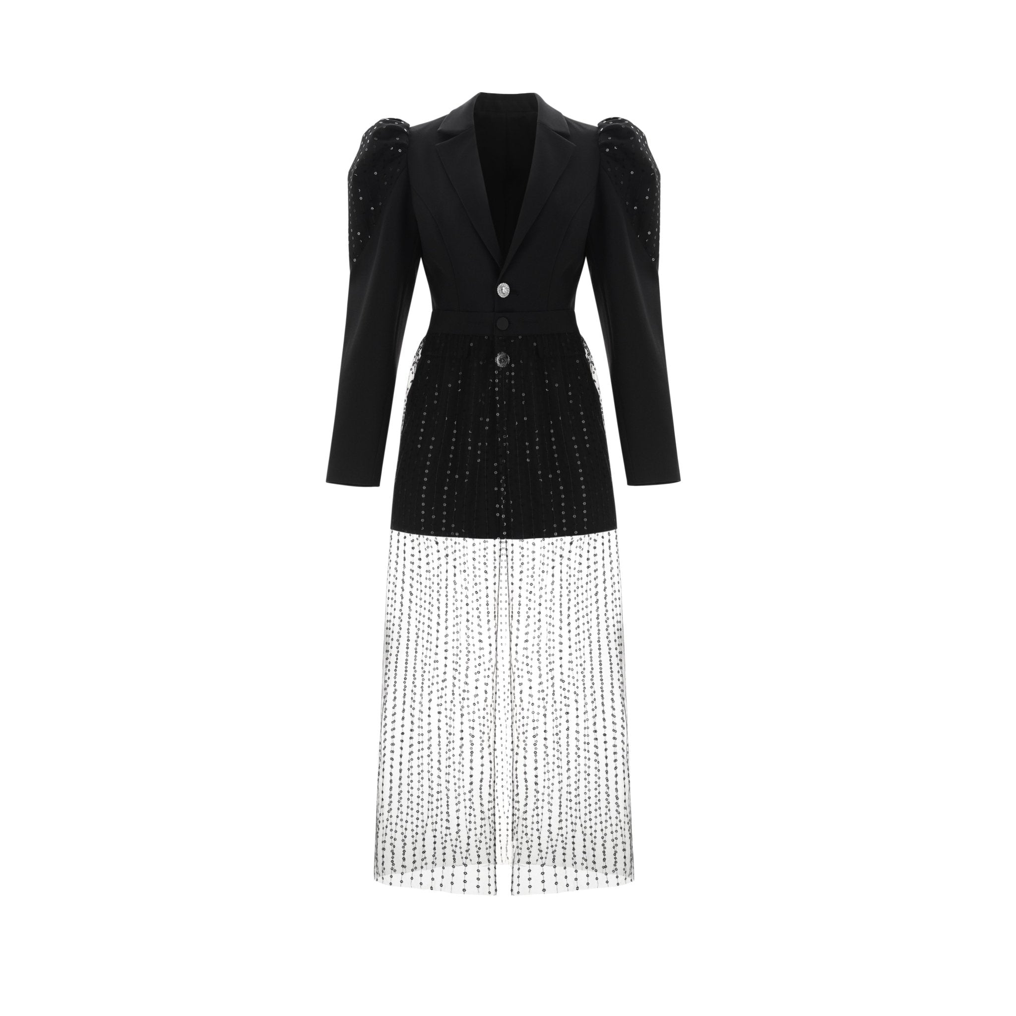 WARM AID Black Mesh Blazer Jacket | MADA IN CHINA