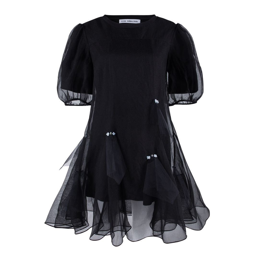 VIAS HERLIAN Black Mesh Dress | MADA IN CHINA