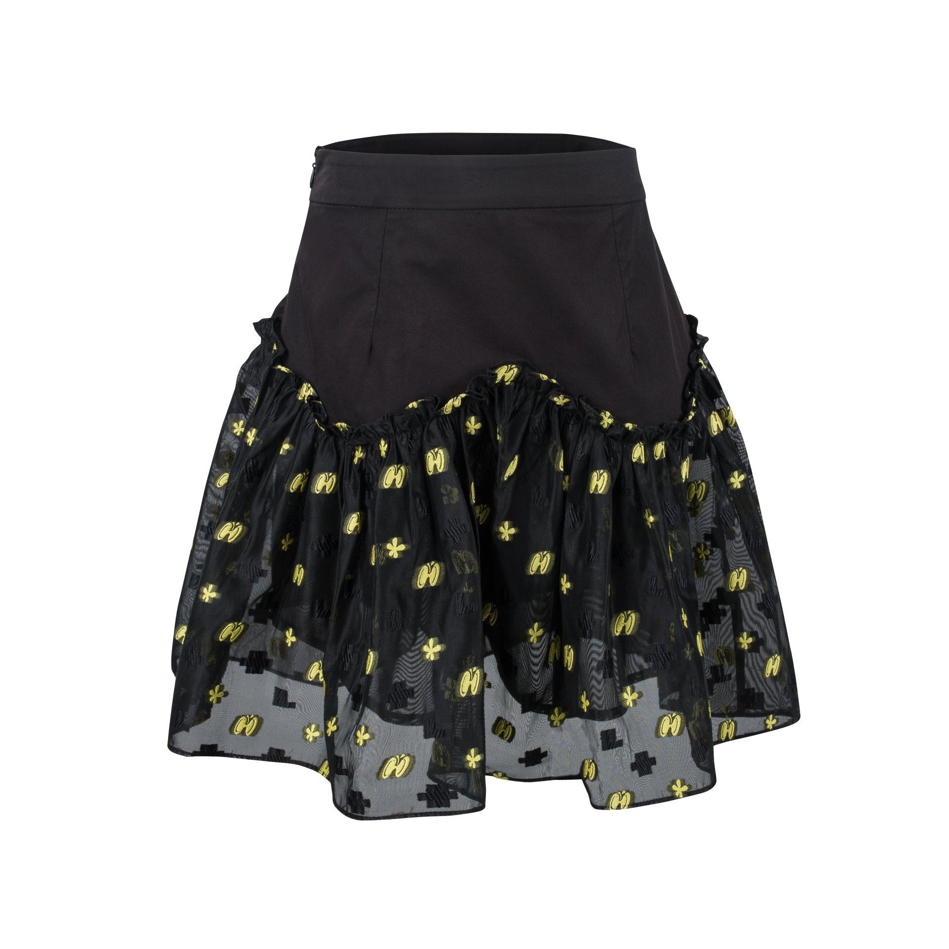 VIAS HERLIAN Black Mesh Jacquard Skirt | MADA IN CHINA