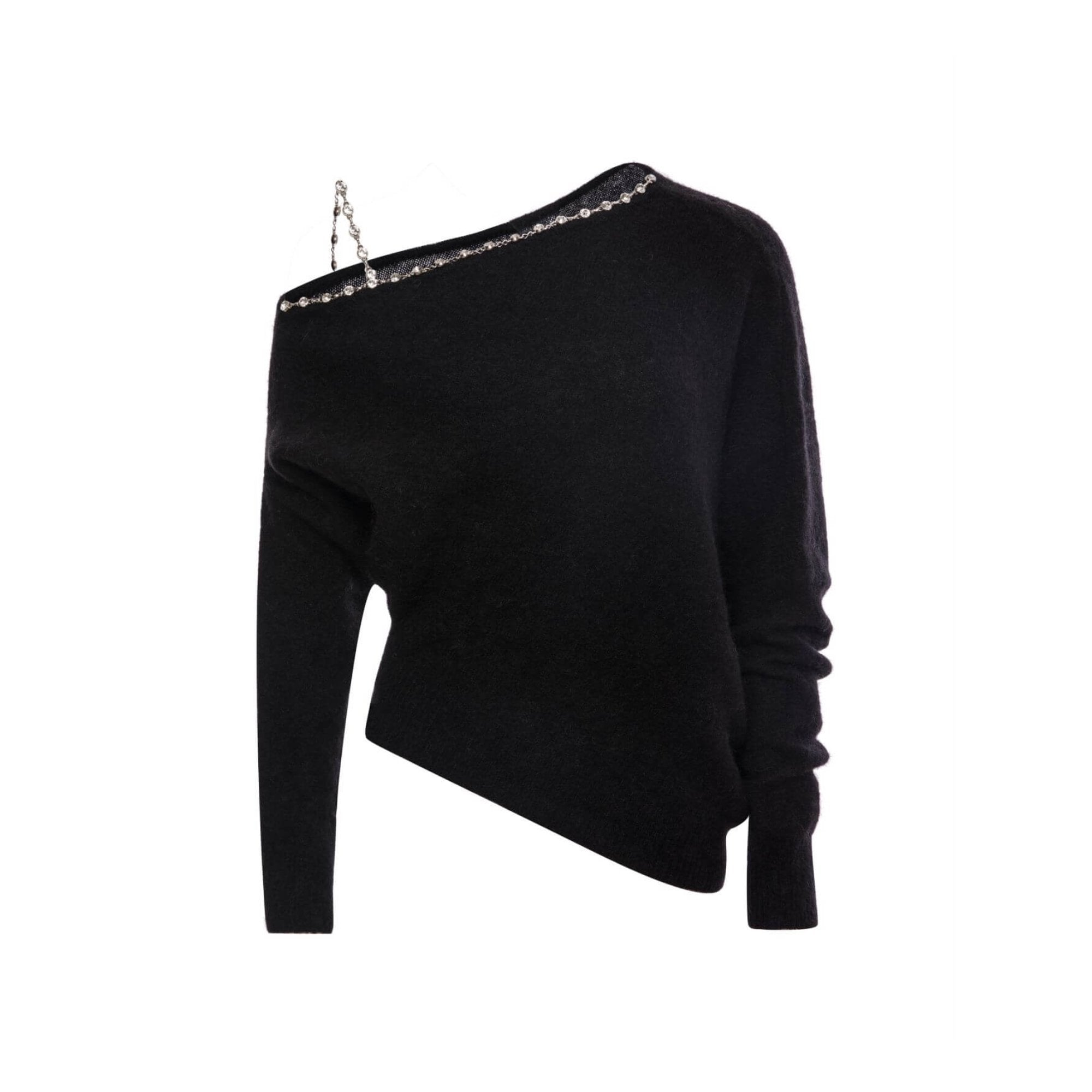 DIANA VEVINA Black Off-Shoulder Chain Sweater | MADA IN CHINA