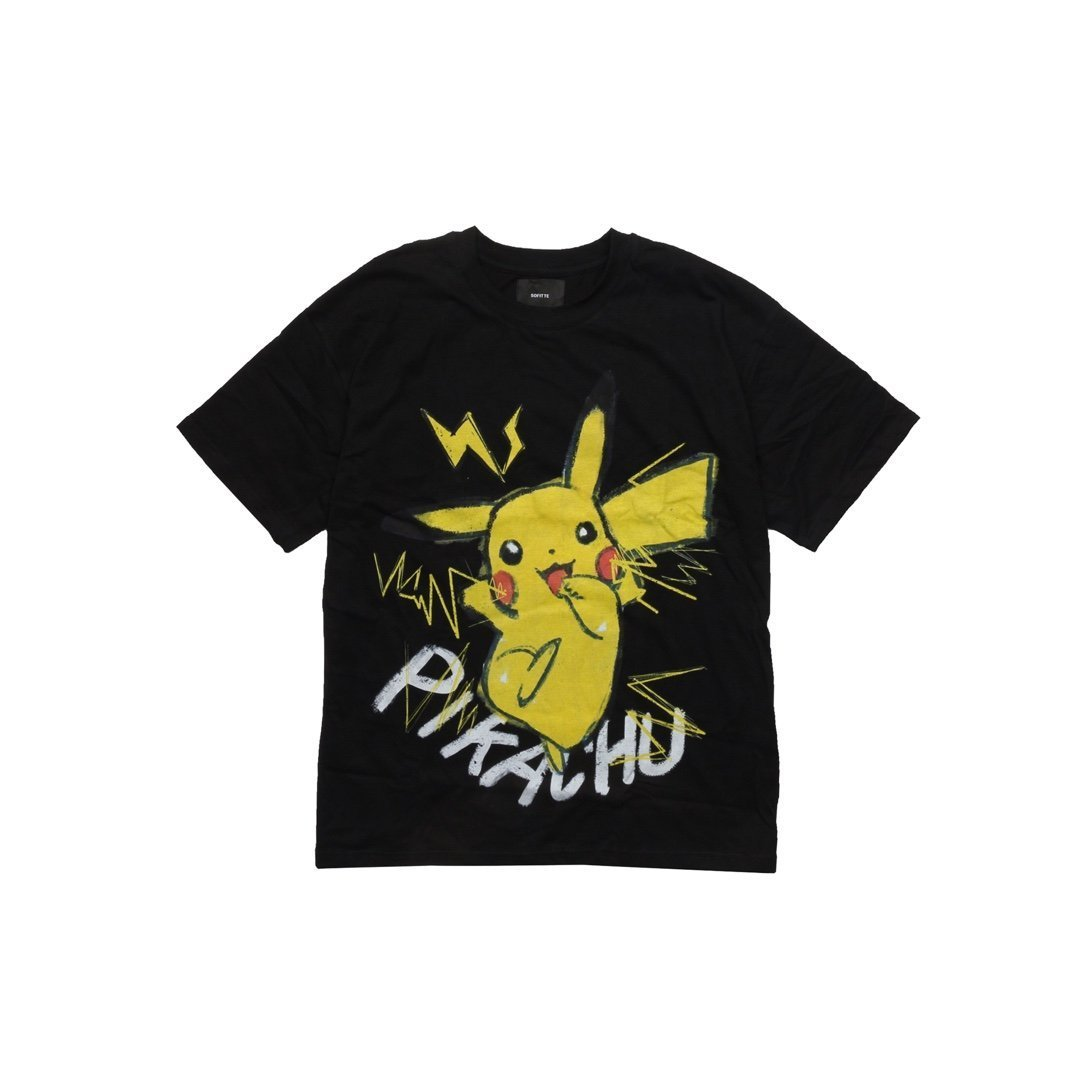 SOFITTE Black Painted Pikachu Tee | MADA IN CHINA