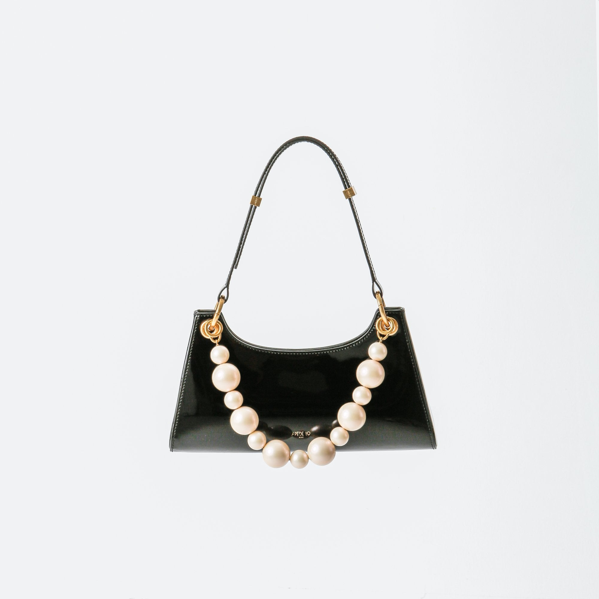 APEDE MOD Black Patent Froggy Bag | MADA IN CHINA