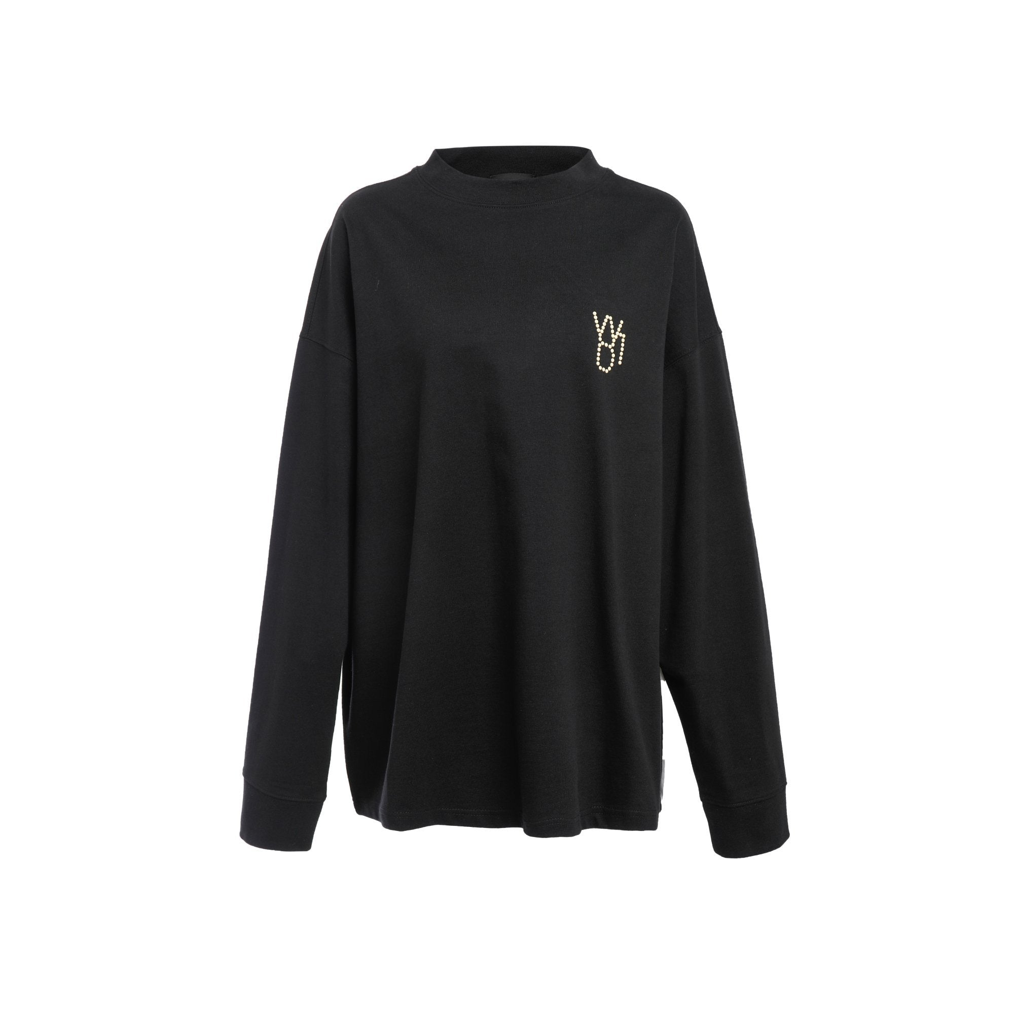 WE11DONE Black Pearl Logo Long Sleeve T-Shirt | MADA IN CHINA