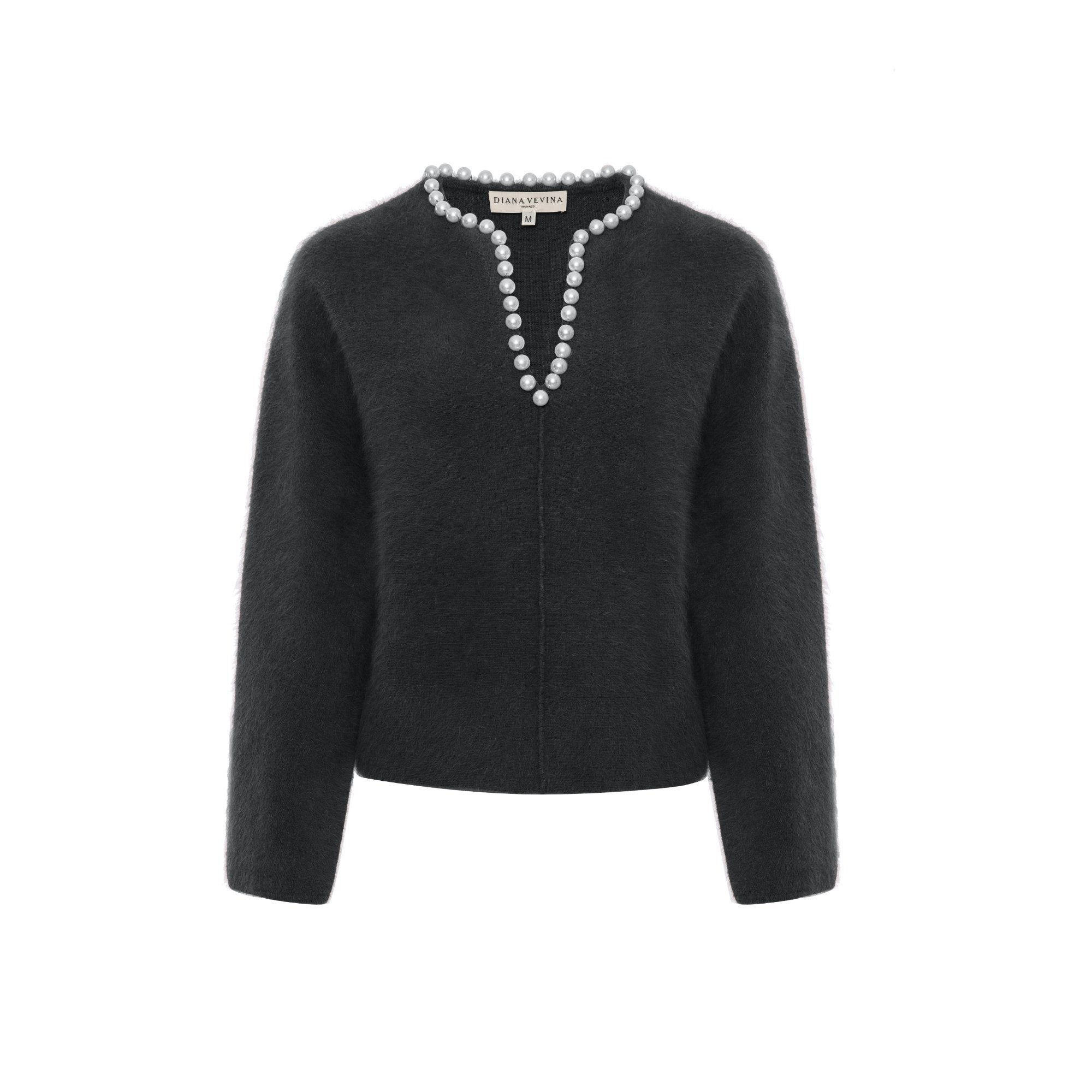 DIANA VEVINA Black Pearl V-Neck Sweatshirt | MADA IN CHINA
