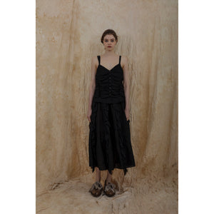 ELYWOOD Black Pleated Slip Dress | MADA IN CHINA