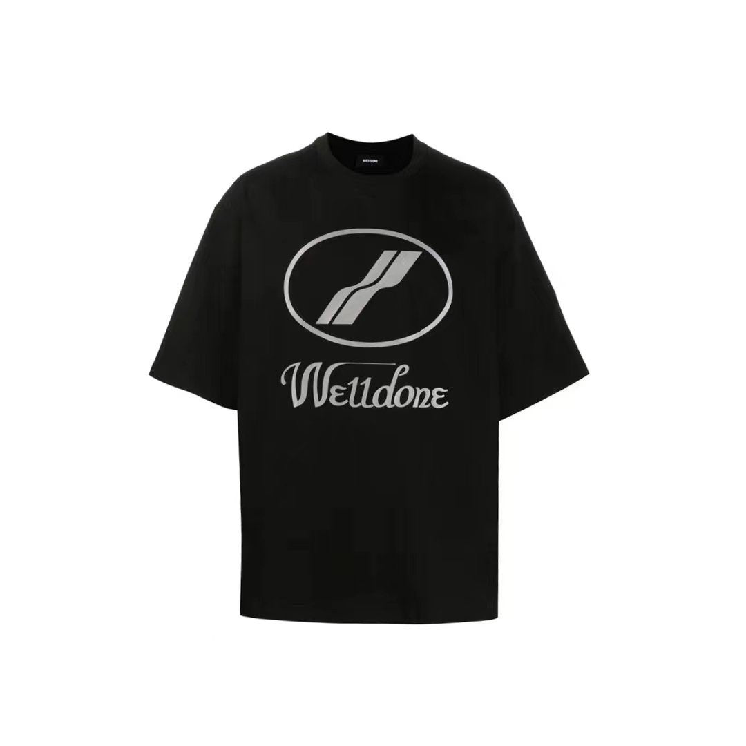 WE11DONE Black Reflective Logo Tee | MADA IN CHINA
