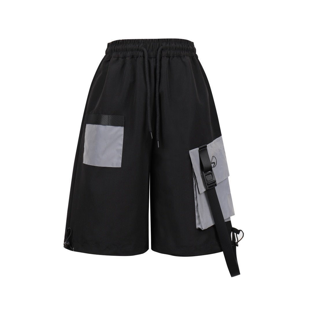 SASA MAX Black Reflective Strap Shorts | MADA IN CHINA