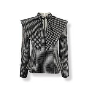 AIMME SPARROW Black Ruffle Collar Jacket | MADA IN CHINA
