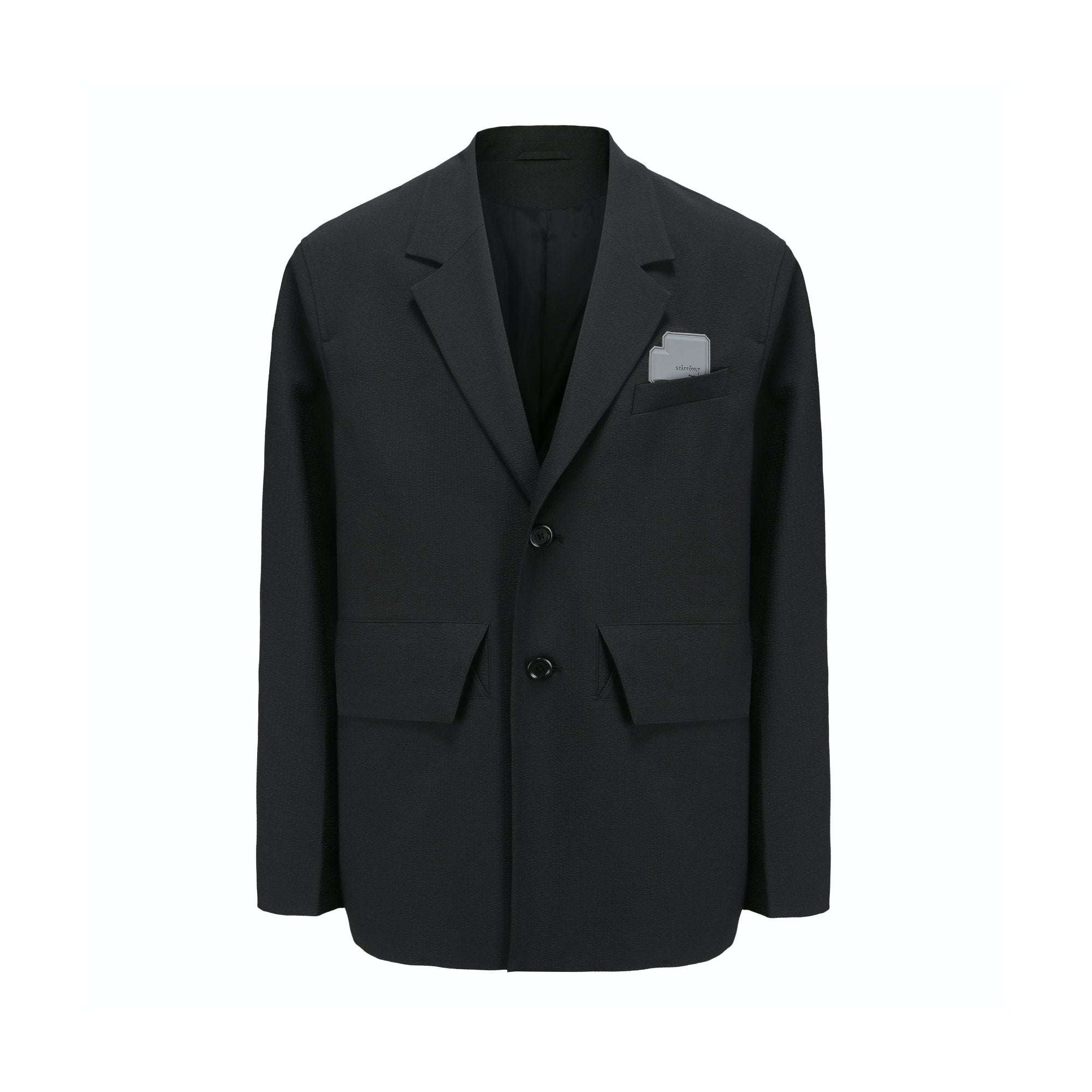 STAFFONLY Black Sheersucker Blazer | MADA IN CHINA
