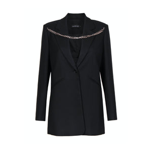 CALVIN LUO Black Shoulder Chain Blazer Jacket | MADA IN CHINA