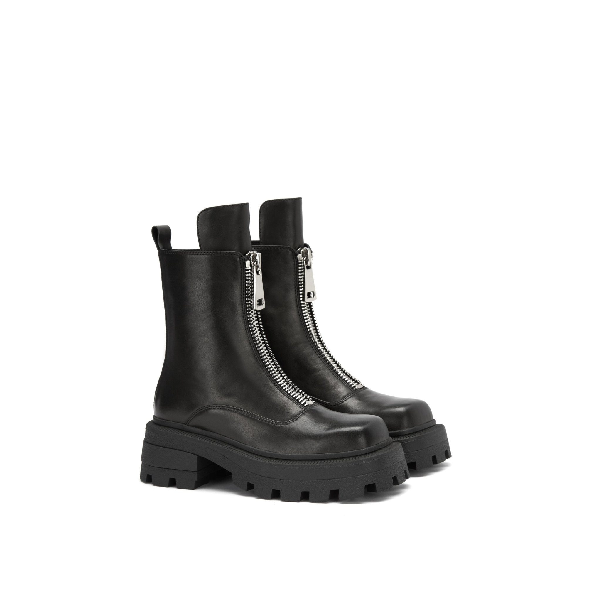 LOST IN ECHO Black Square Toe Zip Boots | MADA IN CHINA