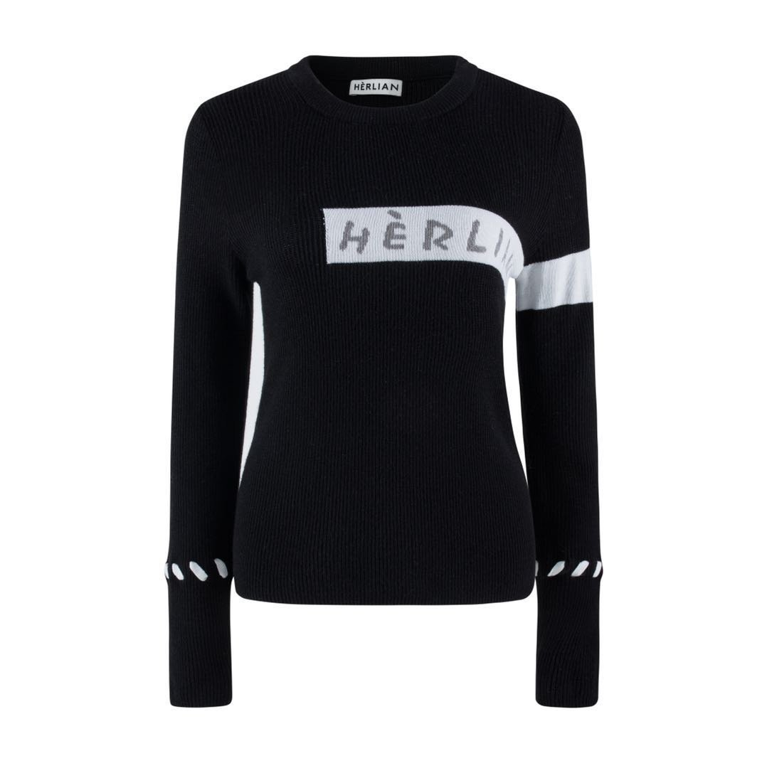 HERLIAN Black Striped Knitted Sweatshirt | MADA IN CHINA